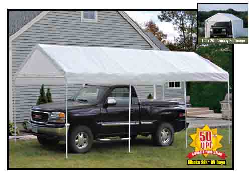 "10'×20' Canopy, 1-3/8"" 4-Rib Frame, White Cover, Enclosure Kit"