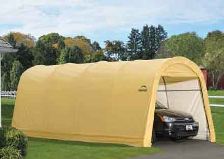 """10 X 20 X 8  Auto Shelter, Round Top, 1-3/8"""" 5-Rib Frame, Tan Cover"""