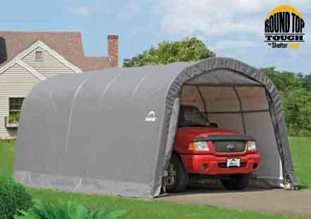 """12×20×8 Round Top Shelter, 1-3/8"""" 6-Rib Frame, Gray Cover"""