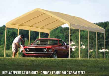 """12×26 Tan Canopy Replacement Cover, Fits 2"""" Frame"""