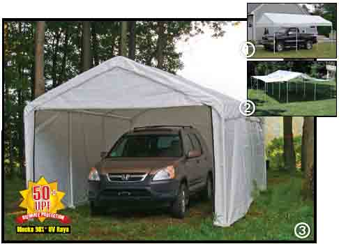 "10'×20' Canopy, 1-3/8"" 4-Rib Frame, White Cover, Enclosure & Extension Kits"