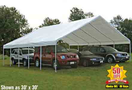 """30x40 Canopy, 2-3/8"""" Frame, White Cover"""