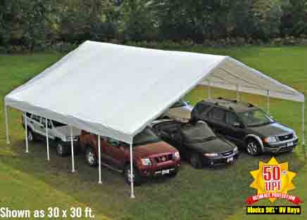 """30x50 Canopy, 2-3/8"""" Frame, White Cover"""