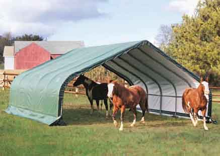 22x20x10 Peak Style Run In/Hay Storage Shelter, Green Cover