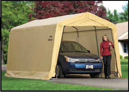 "10X15x8 Auto Shelter, 1-3/8"" 4-Rib Frame, Tan Cover"