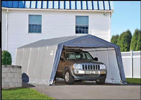 "12×20×8 Peak Style Shelter, 1-3/8"" 6-Rib Frame, Grey Cover"