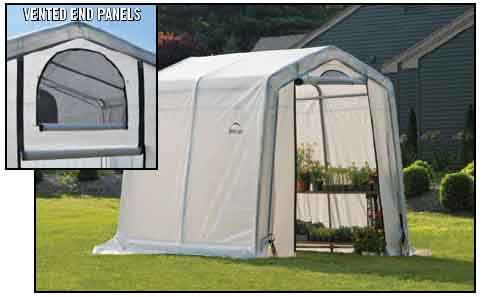 """6x8x6'6"""" Peak Style Greenhouse, Clear Cover"""