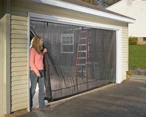 Garage door screens roll up overhead doors for Roll up screen door for garage