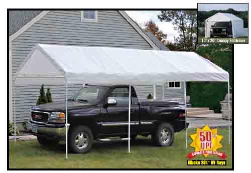 "10'×20' Canopy, 1-3/8"" 4-Rib Frame, White Cover, Enclosure Kit"