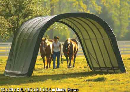 12x20x10 Round Style Run-In Shelter, Green Cover