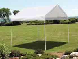 "10'×10' Canopy, 1-3/8"" 2-Rib Frame, White Cover"