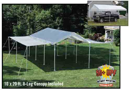 "10'×20' Canopy, 1-3/8"" 4-Rib Frame, White Cover, Extension Kit"