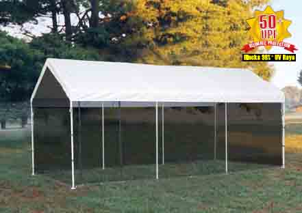 "10'×20' Canopy, 1-3/8"" 4-Rib Frame, White Cover, Screen Kit"