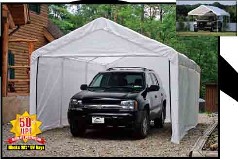 "10'×20' Canopy, 2"" 4-Rib Frame, White Cover, Enclosure Kit"