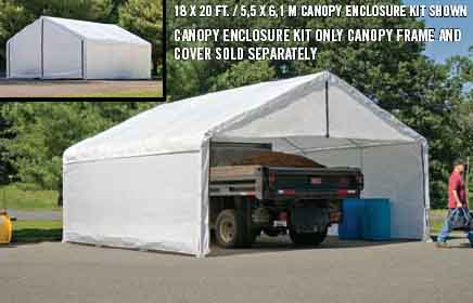 18×40 White Canopy Enclosure Kit, FR Rated