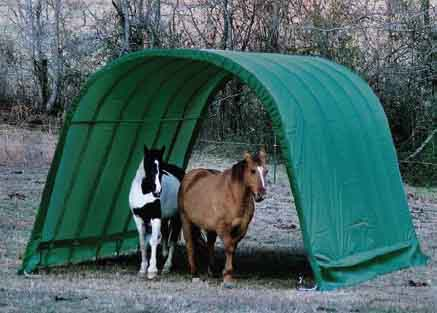 12x24x10 Round Style Run-In Shelter, Green Cover