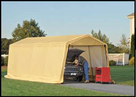 "10 X 20 X 8  Auto Shelter, 1-3/8"" 5-Rib Frame, Tan Cover"