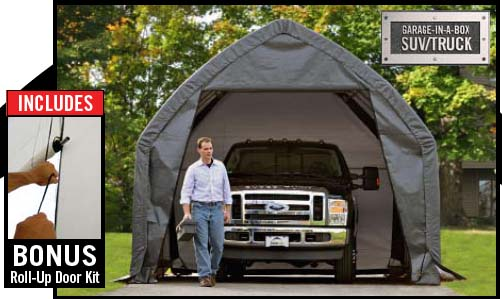 "13×20×12 SUV/Truck Shelter, 1-3/8"" 6-Rib Frame, Grey Cover"