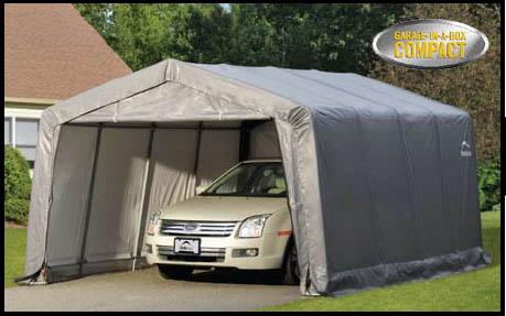 "12×16×8 Peak Style Shelter, 1-3/8"" 5-Rib Frame, Grey Cover"