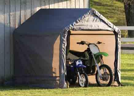 "6 x 6 x 6' Peak Style Storage Shed, 1-3/8"" Frame, Grey Cover"