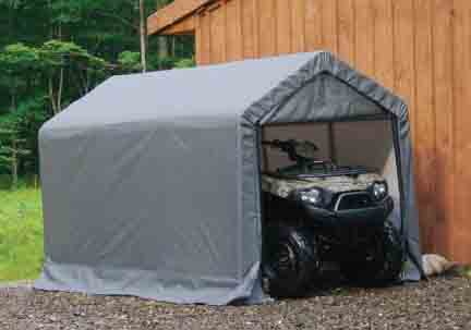 "6×10×6'6"" Peak Style Storage Shed, 1-3/8"" Frame, Grey Cover"