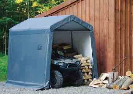 "8×8×8 Peak Style Storage Shed, 1-3/8"" Frame, Grey Cover"