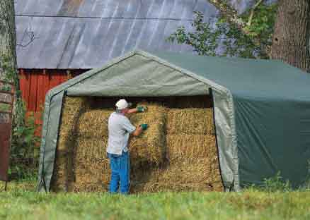 12x20x8 Peak Style Hay Storage Shelter Green Cover & Farm u0026 Hay Storage Shelter Portable Covers