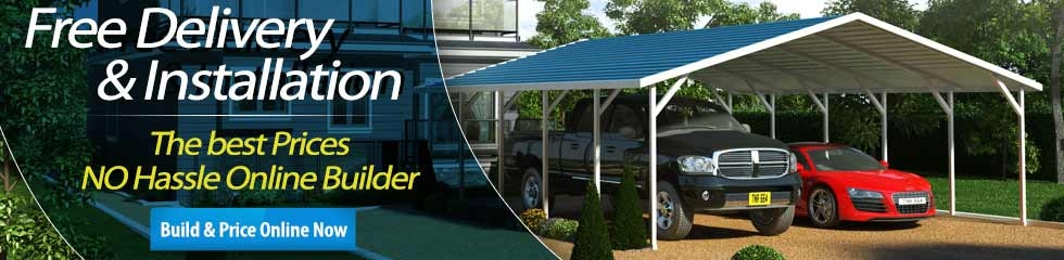 Carports metal carport kits garage kits metal building rv for Build your garage online